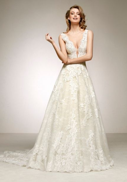 V-Neck Lace Ball Gown
