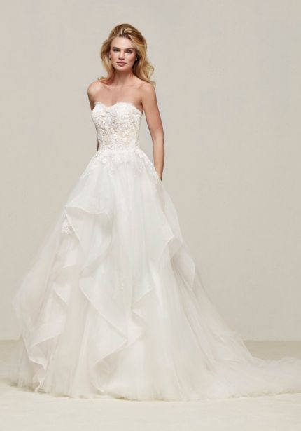 Strapless Ruffle Tulle Ball Gown