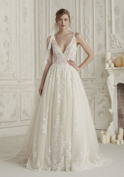 Beaded Tulle Wedding Dress with Sheer Back