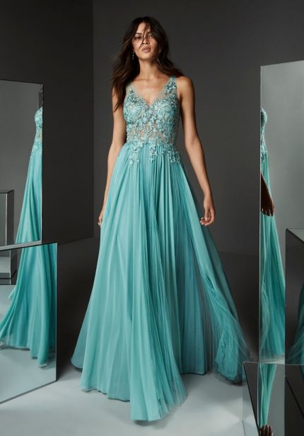 Embroidered Illusion Bodice Flare Gown
