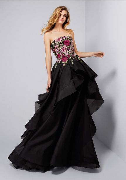 Floral Blossom Ruffle Gown