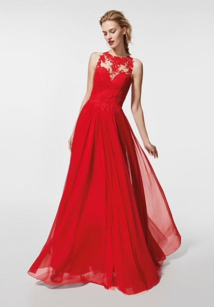 Embroidered Red Chiffon Dress