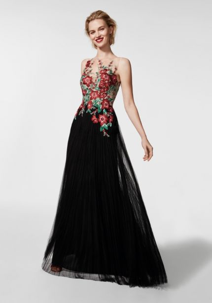 Floral Embroidery Black Tulle Gown