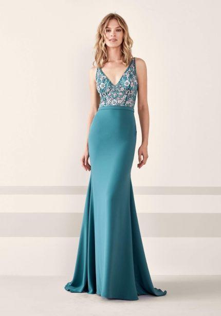 Floral Embellished Crepe Gown