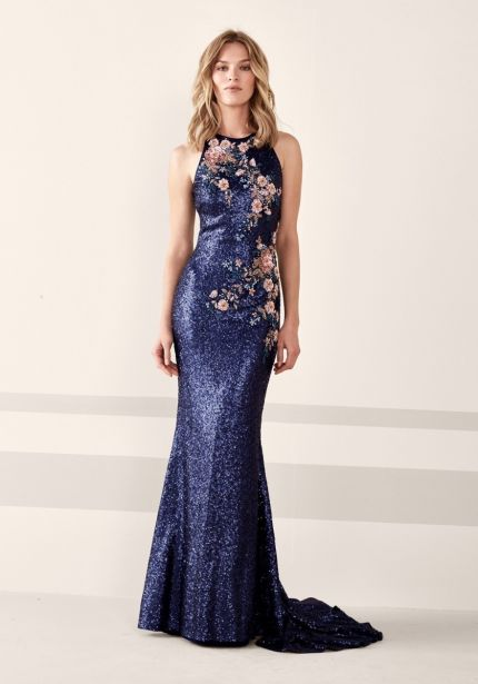 Beaded Flowers Sequined Gown