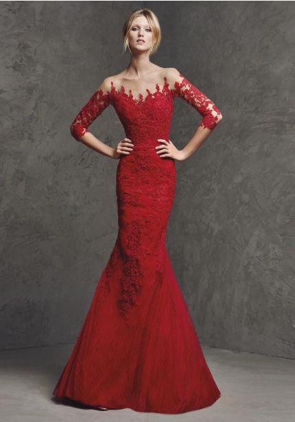 Embroidered Evening Dress With Sheer Back