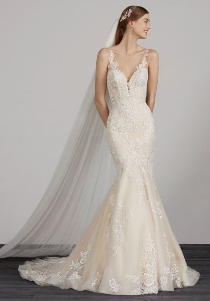Embroidered Wedding Dress with Sheer Straps