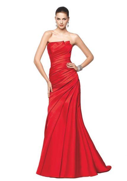 Draped Red Satin Dress