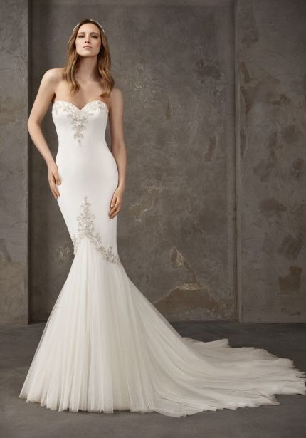 Embellished Strapless Crepe Wedding Dress