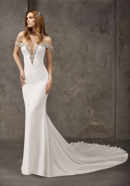Beaded Off-Shoulder Crepe Wedding Dress