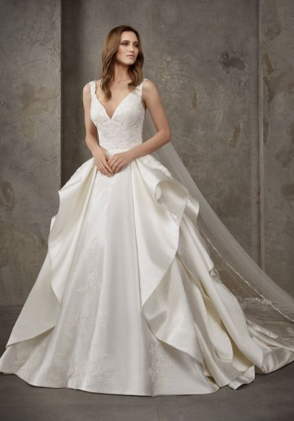 Embroidered Satin Ball Gown with Ruffles