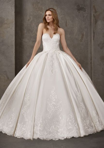 Embellished Strapless Satin Ball Gown