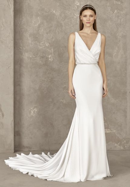 Beaded Crepe Wedding Dress