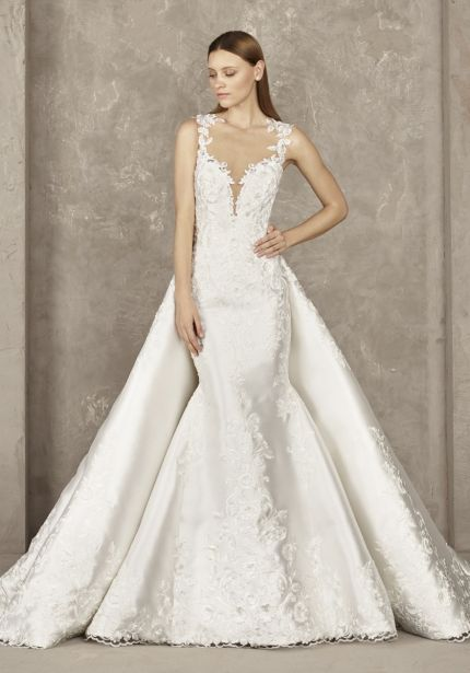 Two-Piece Effect Mikado Wedding Dress