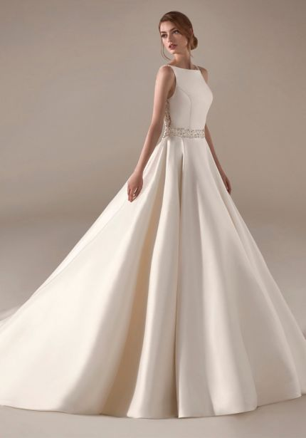 Mikado Ball Gown with Beaded Sheer Back