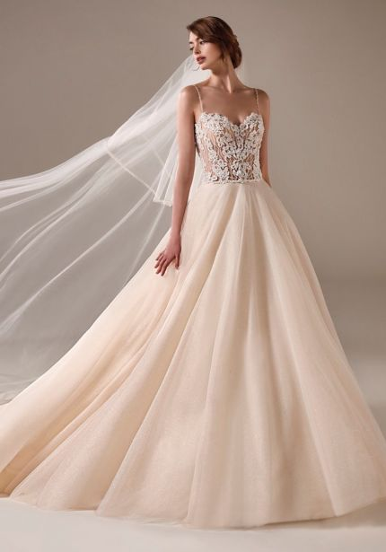 Heavily Beaded Shimmer Tulle Ball Gown