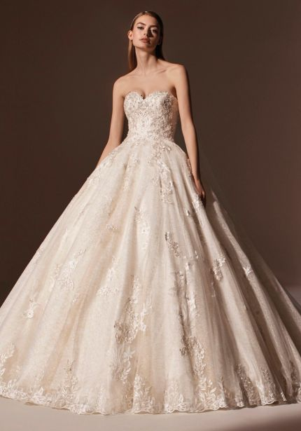 Embellished Soft Gold Ball Gown