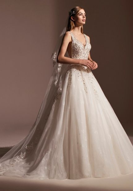 Heavily Beaded Tulle Princess Ball Gown