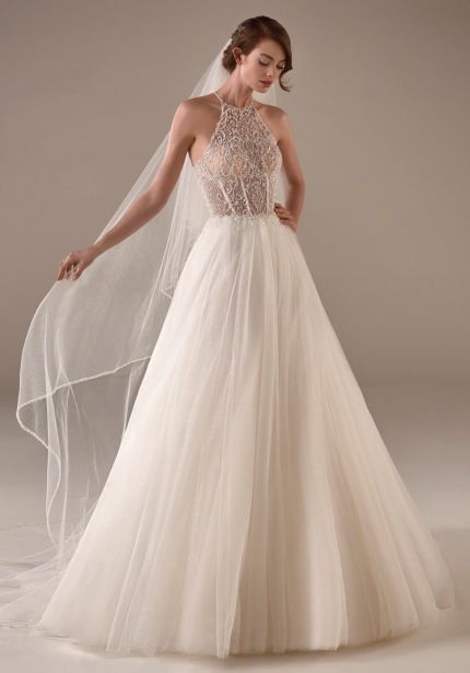 Beaded Halter Neckline Tulle Gown
