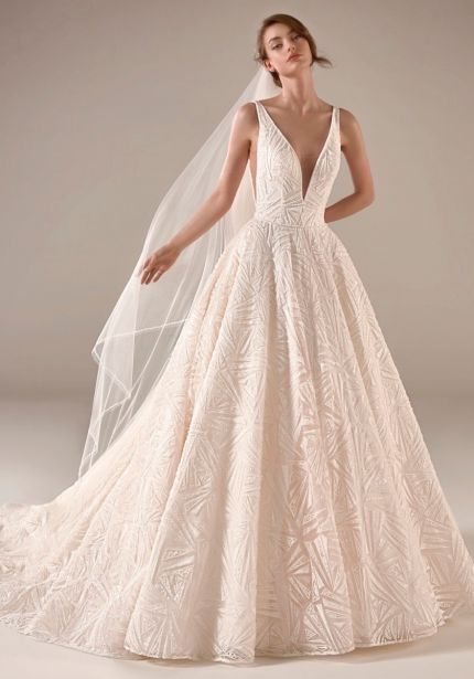 Heavily Beaded Ball Gown with Open Back