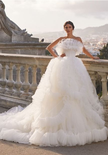 Ruffle Tulle Wedding Dress