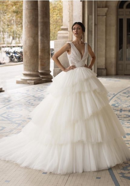 Beaded Layered Ball Gown