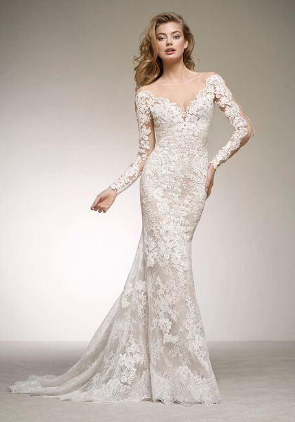 Lace Wedding Dress with Tattoo-Effect Sleeves