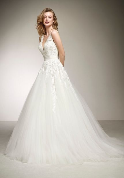 Embroidered Tulle Ball Gown with Open back