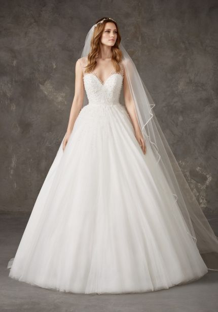 Beaded Tulle Ball Gown with Sheer Straps
