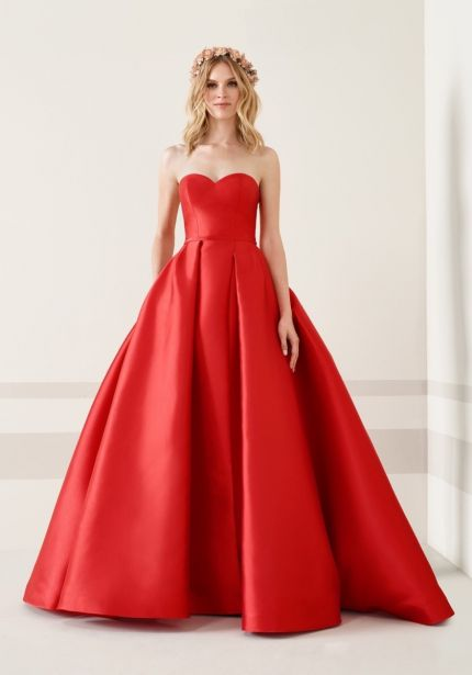Strapless Red Mikado Ball Gown