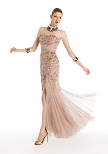 Beaded High Slit Tulle Gown