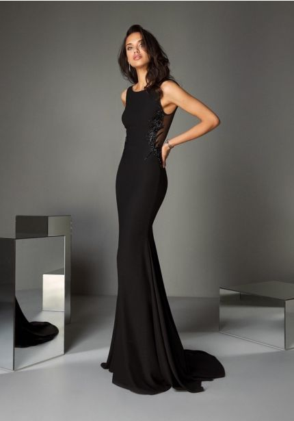 Embellished Black Crepe Gown