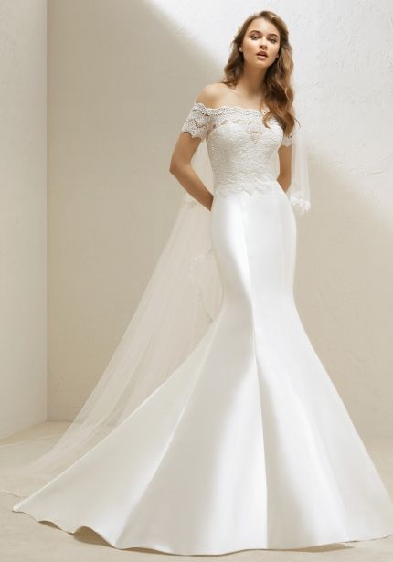 Embroidered Fit & Flare Mikado Wedding Dress