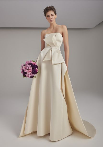Draped Bow Wedding Dress