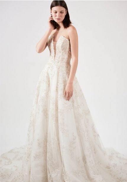 Beaded Champagne Colour Wedding Dress