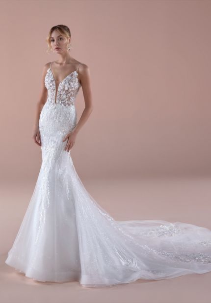 Embroidered Illusion Mermaid Wedding Dress