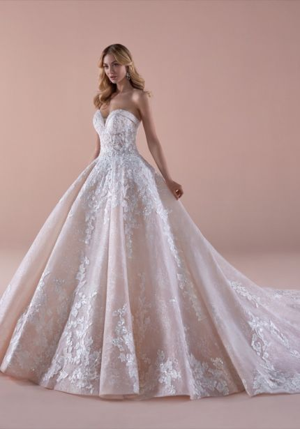 Embroidered Strapless Princess Ball Gown