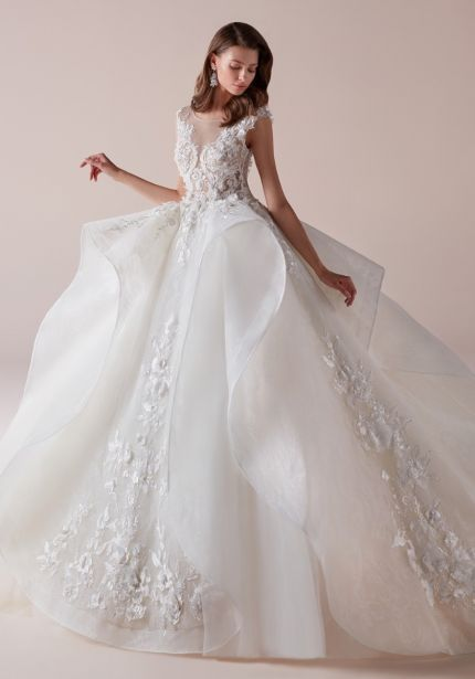 Beaded Ruffle Ball Gown