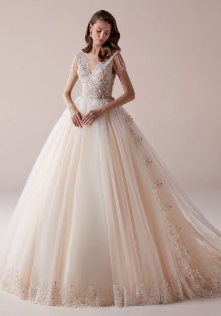 Embellished Tulle Ball Gown with V-Back