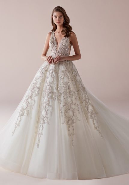 Embellished Tulle Ball Gown with Open Back