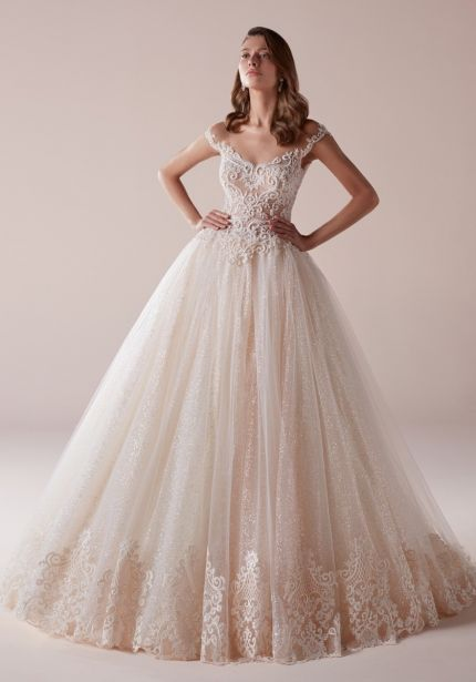 Embellished Glitter Tulle Ball Gown