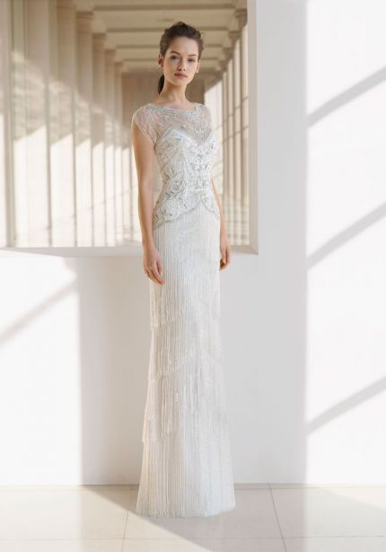 Embellished Fringes Tulle Wedding Dress