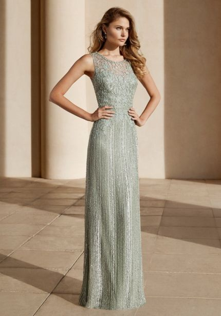 Beaded Olive Green Sheath Gown