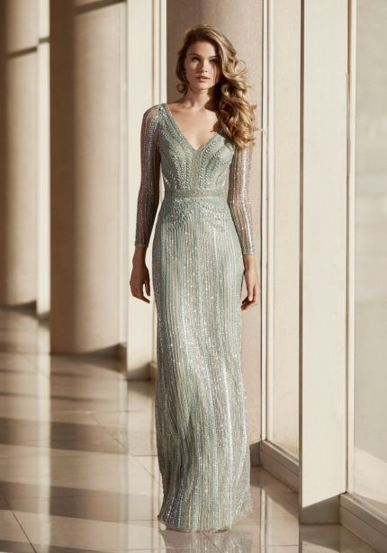 Beaded Long Sleeves Evening Dress