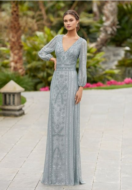 Sparkly Long Sleeves Evening Dress