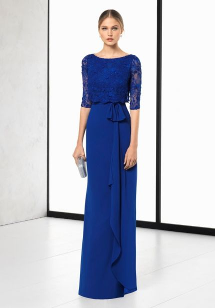 Embroidered Blue Chiffon Gown