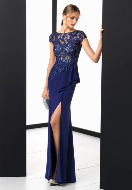 Embroidered Blue Crepe Gown with Slit
