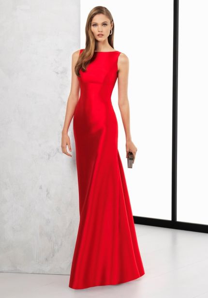 Open Back Red Mikado Gown