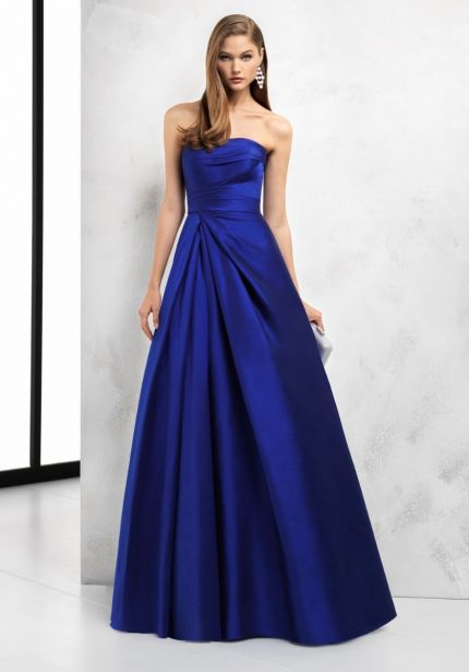 Pleated Blue Faille Gown