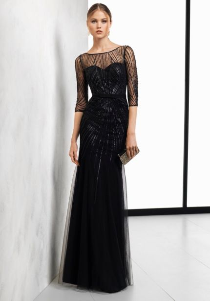 Sequined Black Tulle Gown